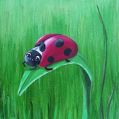 Ladybug Painting - Grass Surfing by Tracie Davis