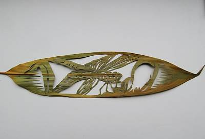 Grasshopper On Bamboo Leaf Art Print by Alfred Ng