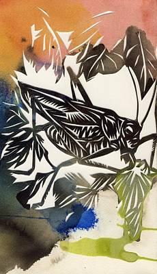 Grasshopper Mixed Media - Grasshopper Papercut by Alfred Ng