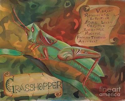 Characteristics Painting - Grasshopper Totem by Sharon Schwane