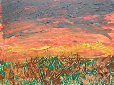 Painting - Grassland Sunset by David Trotter