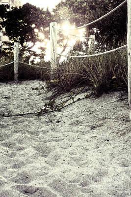 Grassy Beach Post Entrance At Sunset 2 Art Print