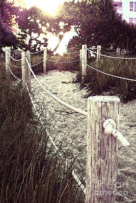 Grassy Beach Post Entrance At Sunset Art Print