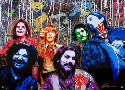 Rose And Skull Painting - Grateful Dead  by Gary Kroman