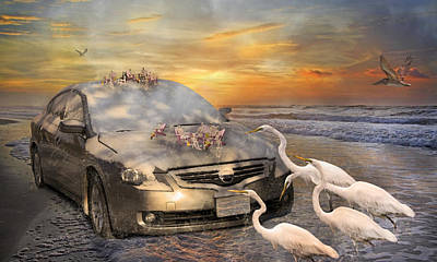 Scenery Mixed Media - Grateful Friends Curious Egrets by Betsy Knapp