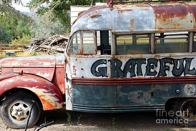 Vintage Bus Photograph - Grateful by Sophie Vigneault