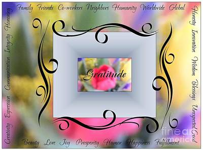 Photograph - Gratitude Inspirational Art by Bobbee Rickard