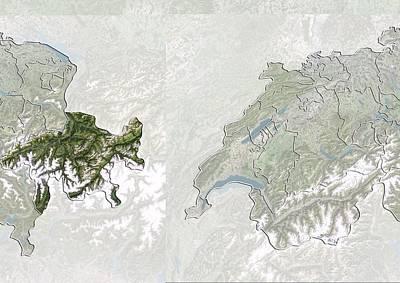 Graubunden Photograph - Graubunden, Switzerland, Satellite Image by Science Photo Library