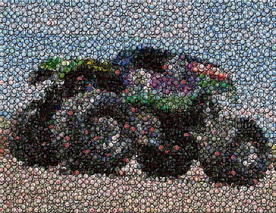 Bottlecap Photograph - Grave Digger Bottle Cap Mosaic by Paul Van Scott