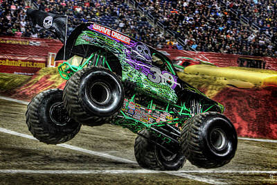 Monster Truck Photograph - Grave Digger Ford Field Detroit Mi by A And N Art