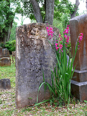Art Print featuring the photograph Grave Stone With Pink Flowers by Jeanne  Woods