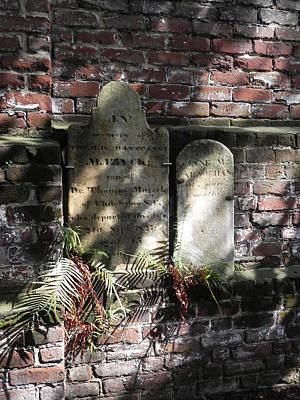 Grave Stones With Fern Art Print by Patricia Greer