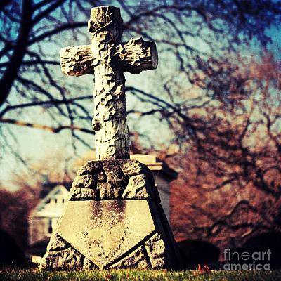 Grave Photograph - Grave With Cross by HD Connelly