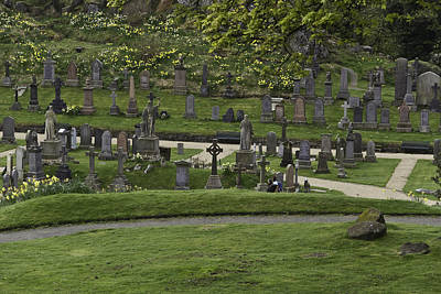 Greenery Photograph - Graves At The Cemetery Next To Stirling Castle With Decorated Headstones by Ashish Agarwal