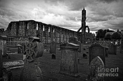 Bw Photograph - Gravestones And Ruins Of St Andrews Cathedral by RicardMN Photography