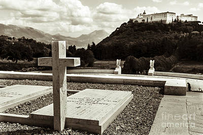 Gravestones In The Polish Cemetery Standing Proud Towards The Ab Art Print