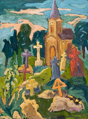 Graveyard And Chapel, 2005 Oil On Board Art Print