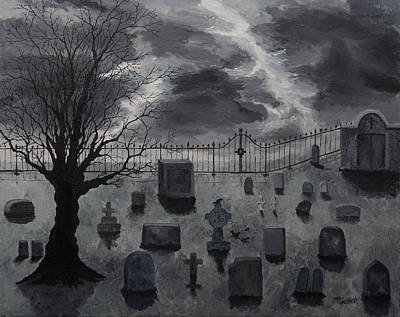 Gravesite Painting - Graveyard At Emms by Tracy Tauber