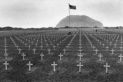 Grave Photograph - Graveyard At Iwo Jima by Edward Steichen