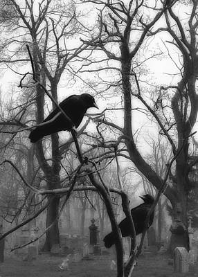 Graveyard Blackbirds Art Print by Gothicrow Images