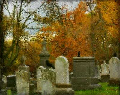 Graveyard In Fall Art Print by Gothicrow Images