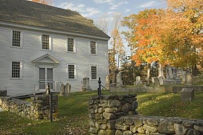 Stone Memorial Photograph - Graveyard Old Country Church In Maine by Keith Webber Jr
