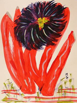 Nature Center Drawing - Gray And Vermillion by Mary Carol Williams