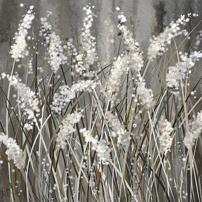 Light-brown Painting - Gray Blossoms- Shades Of Gray Art by Lourry Legarde
