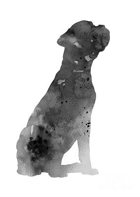 Boxer Abstract Art Painting - Gray Boxer Artwork Silhouette by Joanna Szmerdt