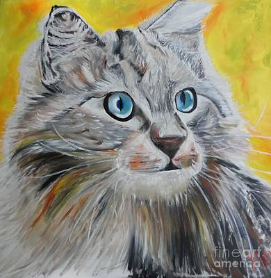 Art Print featuring the painting Gray Cat by PainterArtist FIN