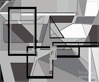 Funky Painting - Gray Geometry by Eloise Schneider