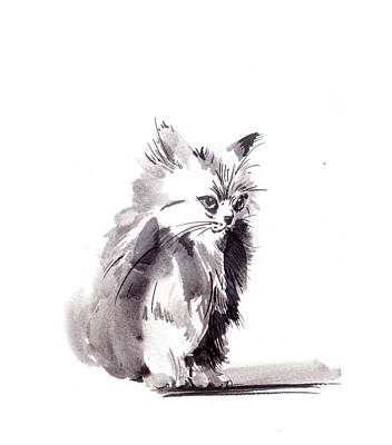 Watercolor Cat Painting - Gray Kitten by Sophia Rodionov