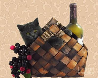 Gray Kitten Wine Basket And Grapes Art Print