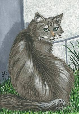 Gray Tabby Painting - Gray Tabby Cat -- Can't Sneak Up On Me by Sherry Goeben