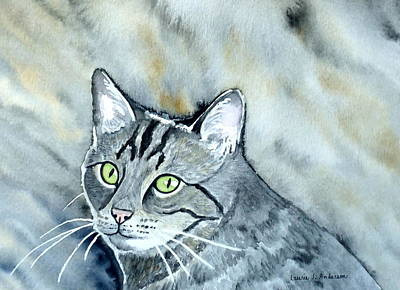 Painting - Gray Tabby Cat by Laurie Anderson
