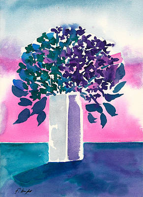 Art Print featuring the painting Gray Vase by Frank Bright