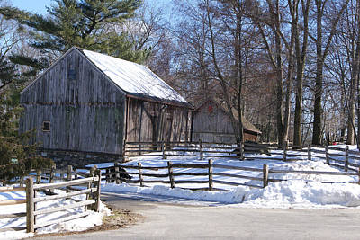 Photograph - Gray Winter Barn C 1750 by Margie Avellino