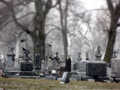 Miniature Effect Photograph - Gray Winter Graveyard by Gothicrow Images