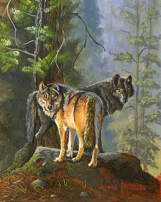 Painting - Gray Wolves by Jeff Brimley