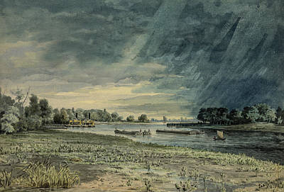 Rain Drawing - Grays Ferry Circa 1858 by Aged Pixel