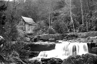 Grayscale Mill And Waterfall Art Print