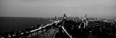 Grayscale Panoramic View Of Diversey Art Print by Panoramic Images