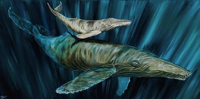 Painting - Graywhale Momma And Calf by Steve Ozment