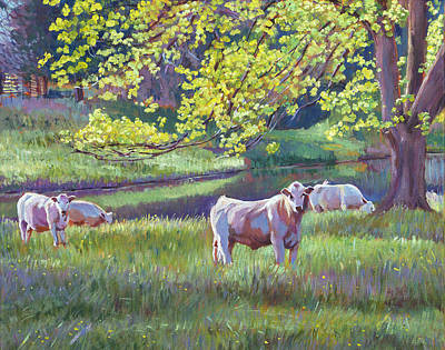Pastoral Landscape Painting - Grazing By The Lake by David Lloyd Glover