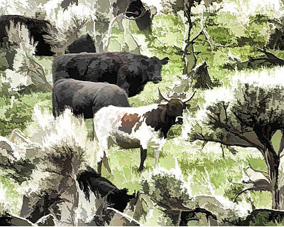 Photograph - Grazing Cattle by Ely Arsha
