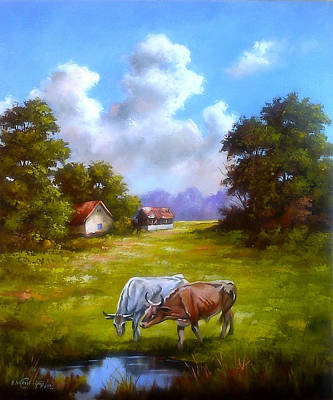 Painting - Grazing Cows by Dragan Ivkovic