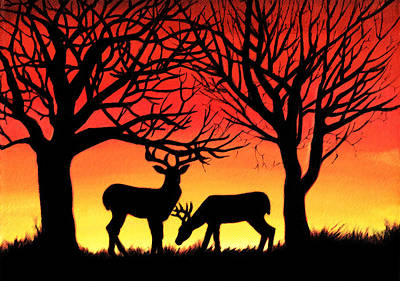 Wall Art - Painting - Grazing Deer At Sunset by Alison Newth
