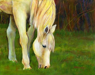 Horse Art Painting - Grazing Horse by Blenda Studio