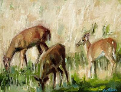 Painting - Grazing In Golden Meadow by Erin Rickelton
