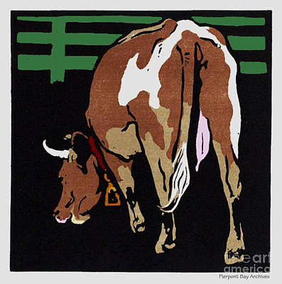 Artful And Whimsical Digital Art - Grazing Milk Cow In Pen by Pierpont Bay Archives